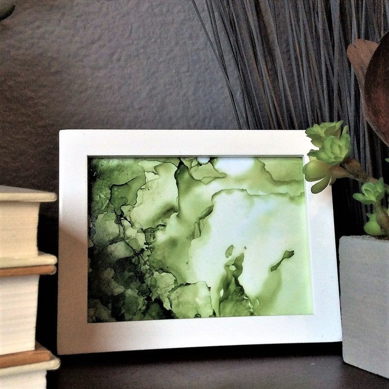 Small abstract painting  alcohol ink art  fluid painting  image 0