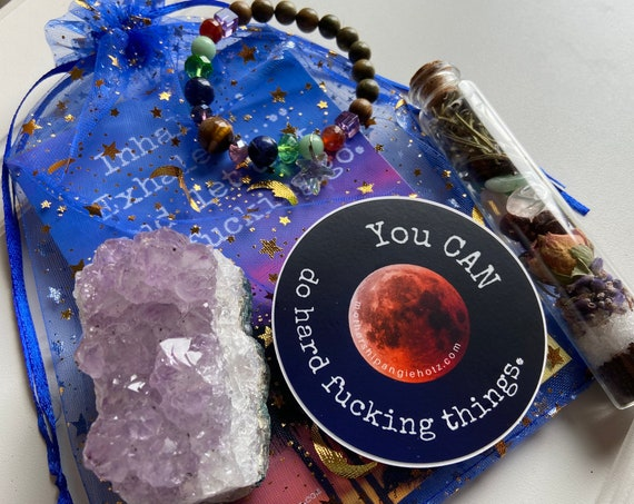 Everyday Kit with Sweary Affirmation Cards, Breathing Beads Bracelet, Amethyst Crystal Cluster, Vinyl Sticker, and Spell Bottle