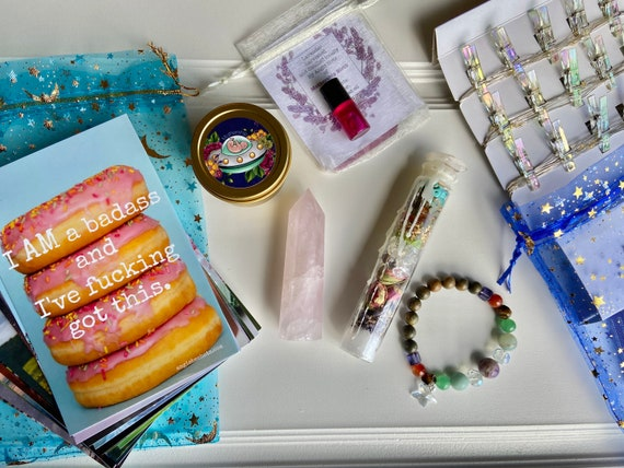 Badass Birth Coping Kit Bag with Crystal Point, Spell Jar, Fairy Lights, and Healing Salvealve