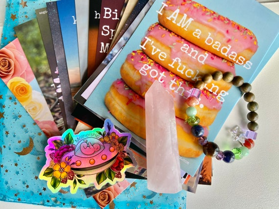 Badass Birth Coping Kit with Affirmation Cards, Breathing Beads Bracelet, and Crystal Point