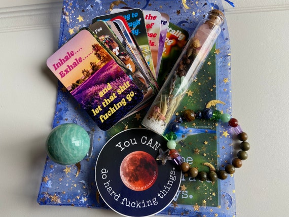 Everyday Kit with Mini Sweary Affirmation Cards, Breathing Beads Bracelet, and Amazonite Crystal Sphere, Vinyl Sticker, and Spell Jar