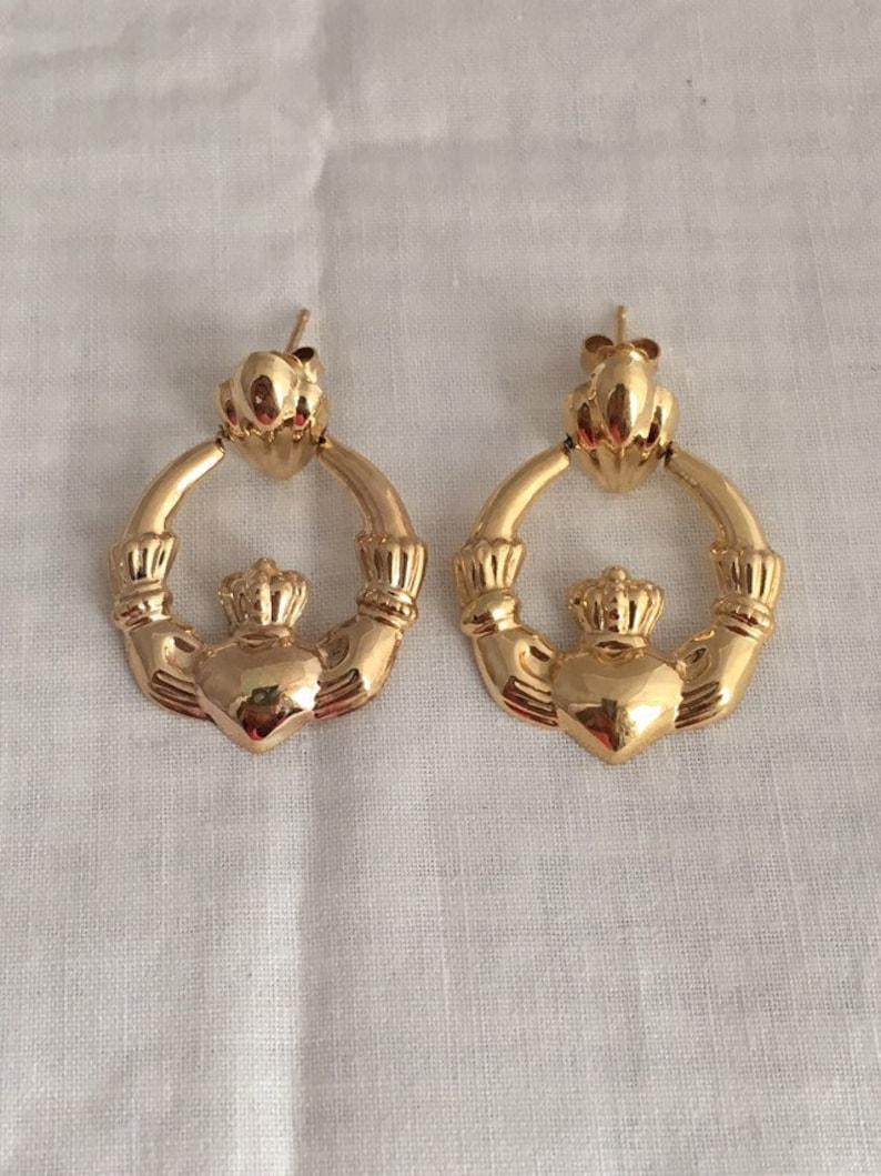 Beautiful Yellow gold 14K Yellow-gold 14k Polished & Satin Claddagh Hoop Earrings Women