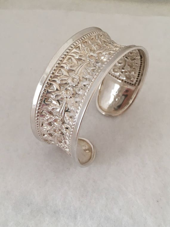 Cuff Concave Floral Openwork Bracelet 925 Sterling Silver   Etsy