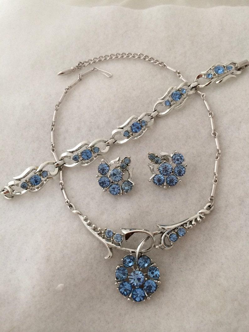 Coro Full Parure Set Sky blue Rhinestone Chocker Necklace Five Section Bracelet Screw Back Earring All signed Vintage Coro Silver Tone Medal