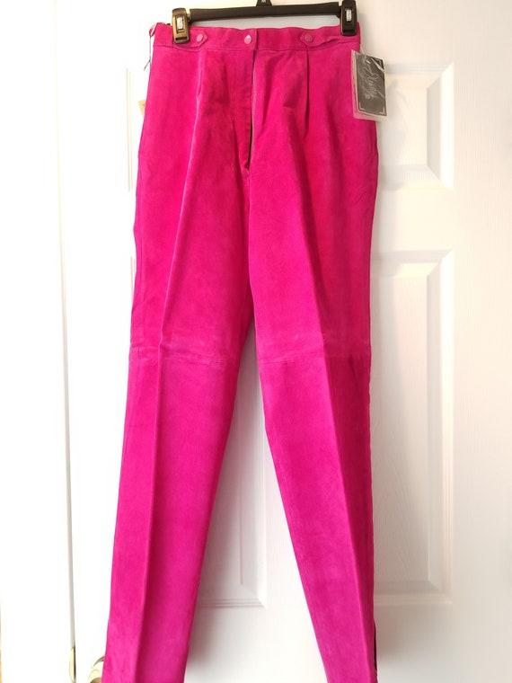 Vintage J Walden Magenta Leather Suit **Pants Only