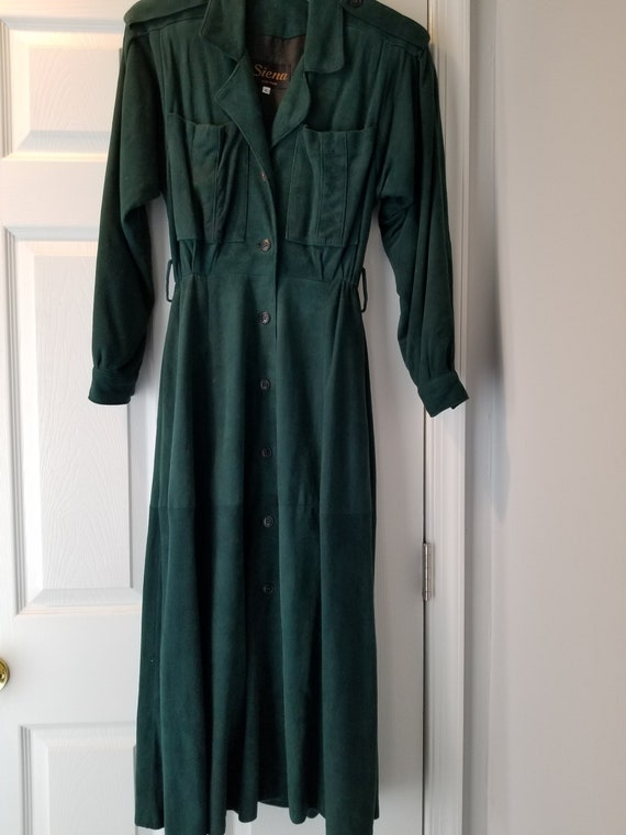 Retro 1970s Emerald Green Suede Dress
