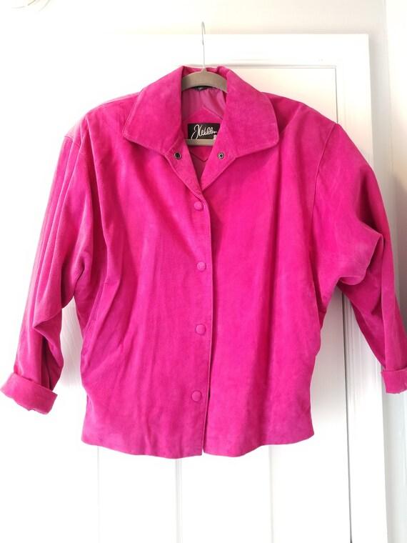 Vintage J Walden Magenta Leather Suit