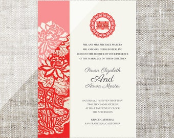Diy Printable Chinese Wedding Invitation Card Template Instant Etsy