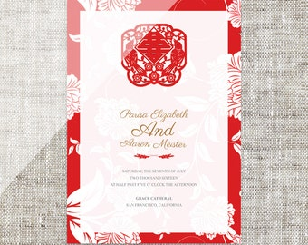 Diy printable chinese wedding invitation card template instant etsy diy printable editable chinese wedding invitation card template instant downloadtraditional red flowers paper cut double happiness stopboris Gallery