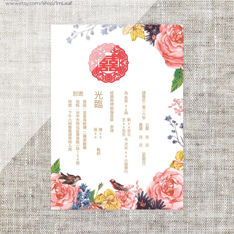 DIY Printable Editable Chinese Wedding Invitation Card Template Instant Download Colourful Flowers Birds Traditional Double Happiness
