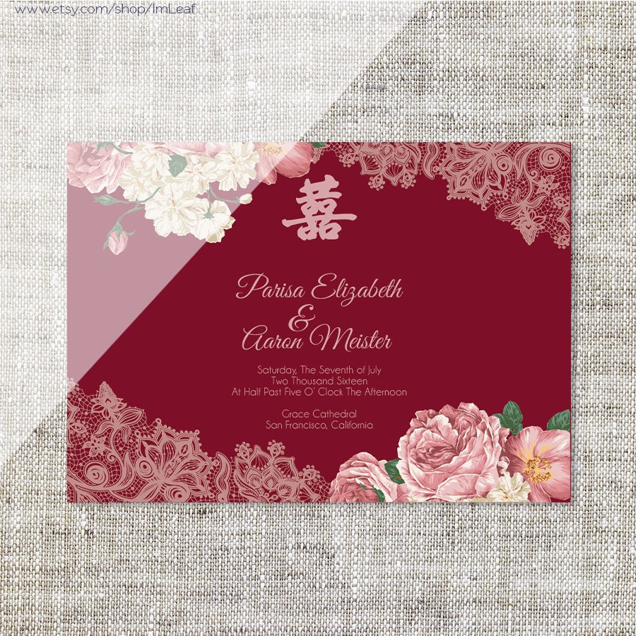 DIY Printable/Editable Chinese Wedding Invitation Card | Etsy