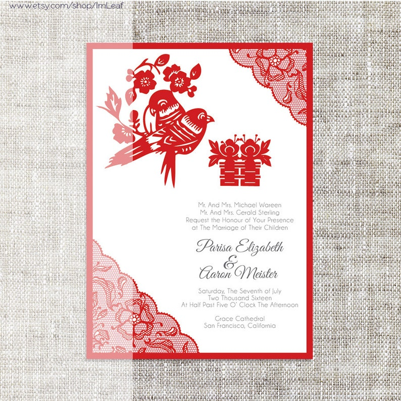 diy printable  editable chinese wedding invitation card