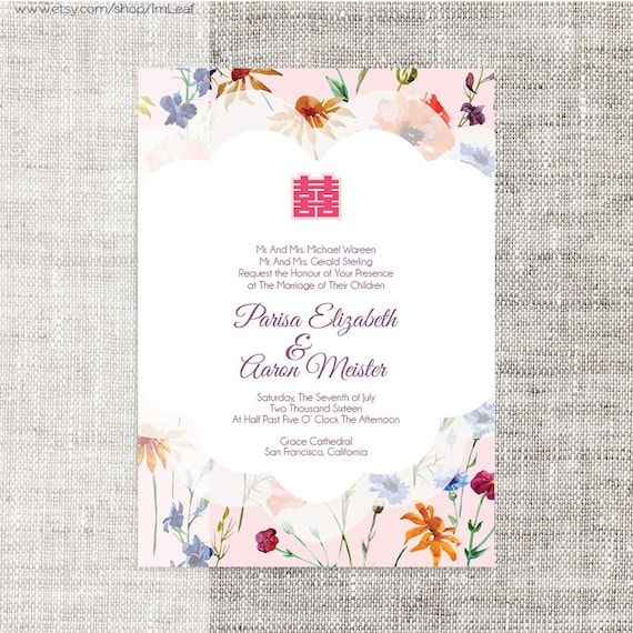 DIY Printable Editable Chinese Wedding Invitation Card Template Instant Download Pastel Elegant Floral Background Double Happiness