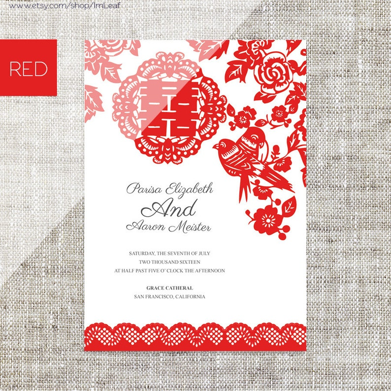 DIY Printable Editable Chinese Wedding Invitation RSVP Card Template Instant Download Red Paper Cut Lace Traditional Double Happiness