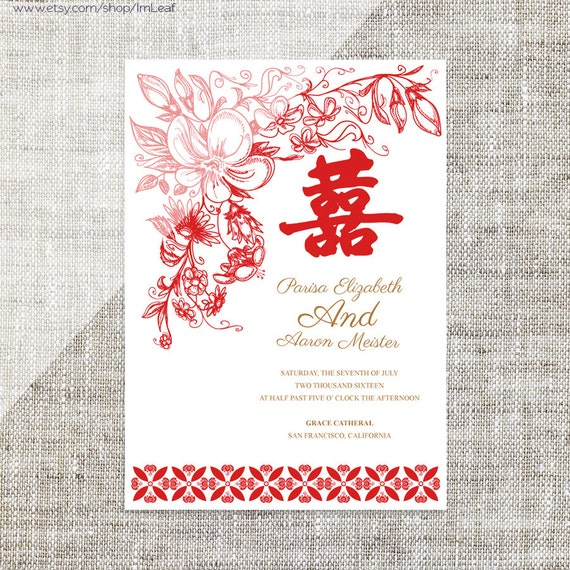 Diy Printable Editable Chinese Wedding Invitation Card Template Instant Download Elegant Traditional Red Floral 婚禮喜帖 喜喜double Happiness