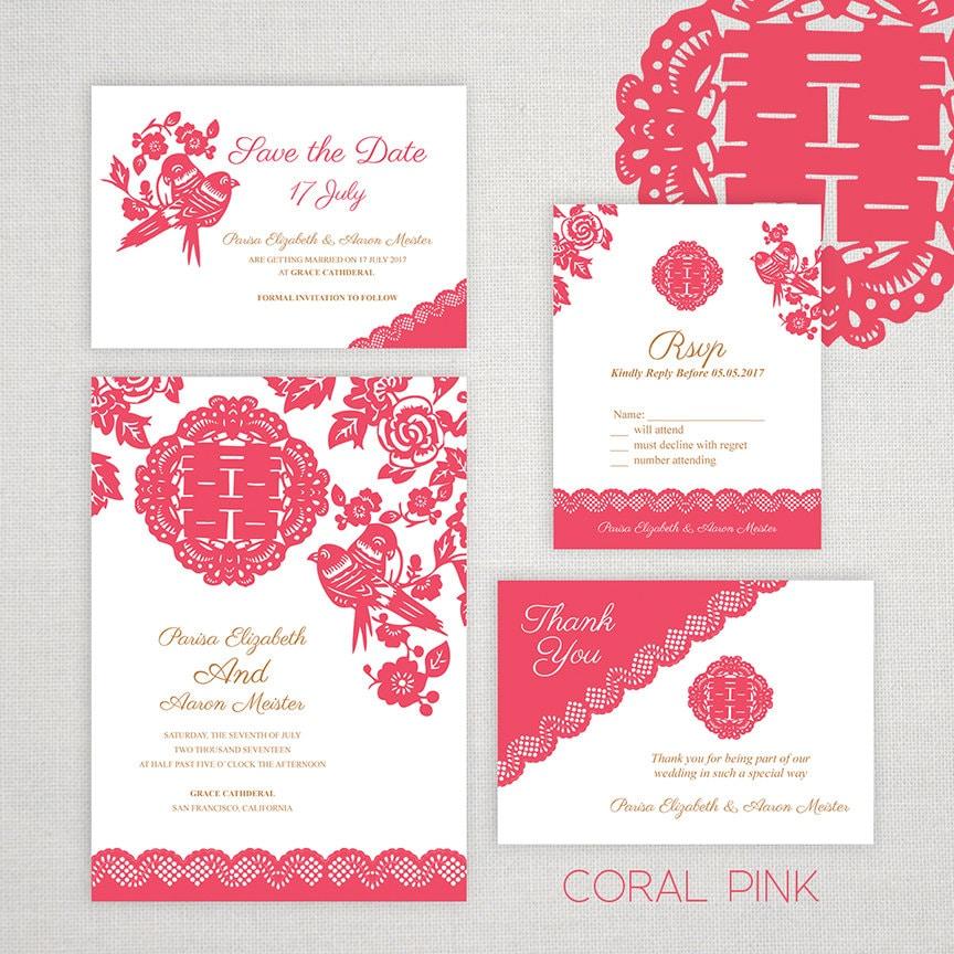 Asian Wedding Food Menu: DIY Printable Editable Chinese Wedding Invitation Save The