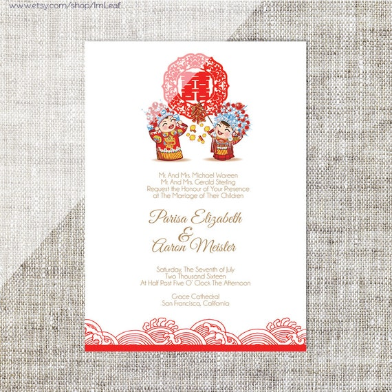 Diy Printable Editable Chinese Wedding Invitation Card Template Instant Download Traditional China Bride Groom 婚禮喜帖 喜喜double Happiness