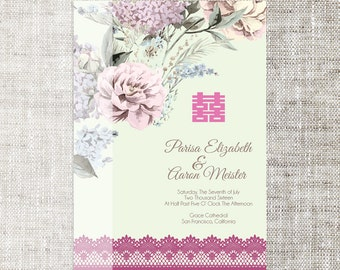 DIY Printable/Editable Chinese Wedding Invitation Card Template Instant Download_Vintage Elegant Floral Background 婚禮喜帖喜喜Double Happiness