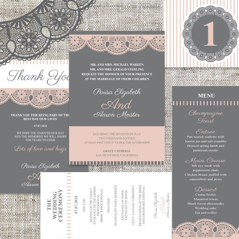 DIY Printable Wedding  Celebration Invitation All In One Templates Instant Download/_Coral Premium Lace