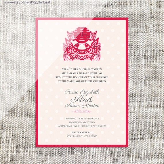 DIY Printable Chinese Wedding Celebration Invitation Card Template Instant Download Double Birds Polka Dots Paper Cut Happiness