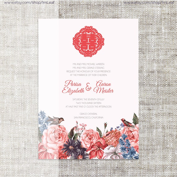 Diy Printable Editable Chinese Wedding Invitation Card Template Instant Download Coral Flowers With Birds Traditional婚禮喜帖 喜喜double Happiness