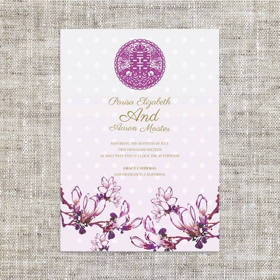 Diy printable chinese wedding invitation card template instant stopboris Image collections