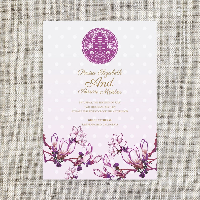 DIY Printable Chinese Wedding Invitation Card Template Instant Download Polka Dots Oriental Painting Double Happiness
