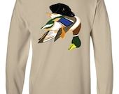 Black Lab with Mallard Duck Long-Sleeve T-Shirt