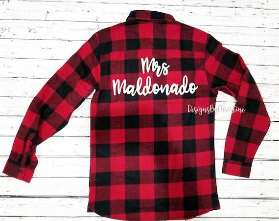 Buffalo Plaid Bridal Flannels.Red flannel shirts. Bachelorette party shirts. bridal party flannels. Bride flannel shirt.