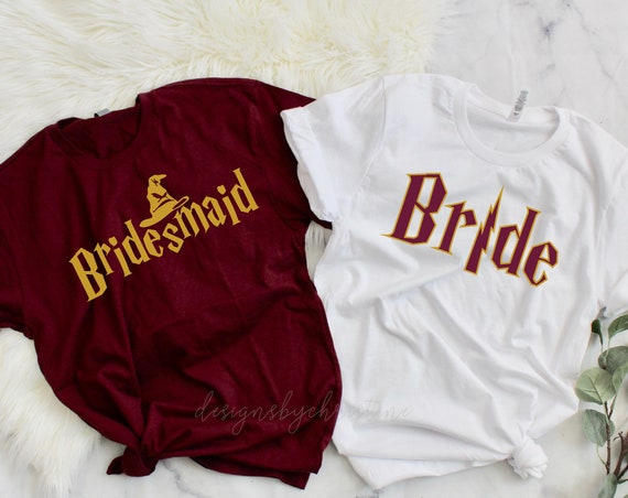 Set of Wizard Themed Bachelorette Party Shirts | Harry potter inspired bridesmaid shirt | Bachelorette shirts | harry potter inspired shirts