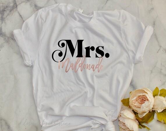 Mrs Shirt | Mrs and last name custom shirt| Bride gift | bridal shower bride gift | bridal gift | bride top | bride proposal