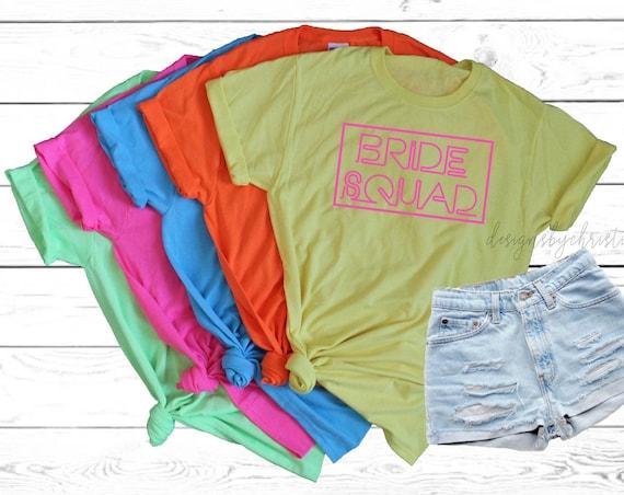 Neon Bachelorette Shirts, Neon bride squad shirts, Neon Bride Shirt, Neon Bachelorette Party Shirt, Custom neon shirt