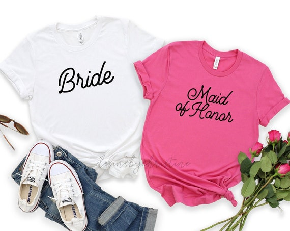 Bridesmaid shirt | Bridal Party top  | Bride Shirt | Getting ready shirt | Wedding shirts | Maid of Honor Shirt | Bachelorette Pink Shirt