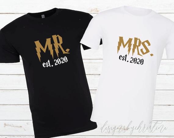 Mr and Mrs shirts | Universal Couples Shirts  | Honeymoon Potter Matching Shirts | Just Married | wizard couples shirts