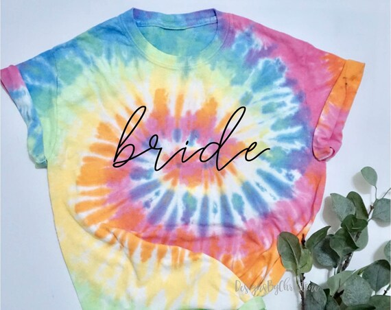bride tie dye shirt | Custom bridesmaid shirts | bachelorette party shirts | bridesmaid proposal | tie dye custom shirt