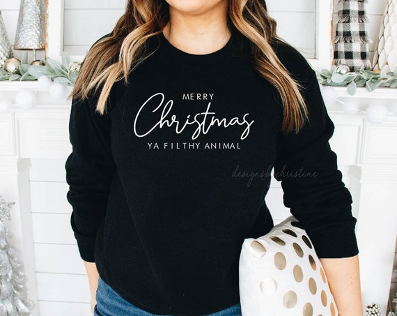 Merry Christmas ya filthy animal Sweater | Family matching X Mas sweater | Womens Christmas sweater |  Kids xmas sweater