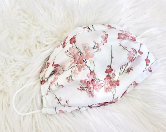 Cherry Blossom Face Mask, Mask Cover with nose wire & filter, Cotton Face Mask, Washable Face Mask, mask with filter