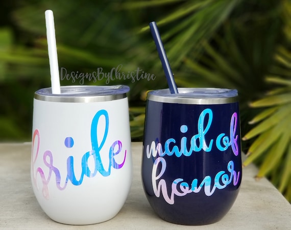 Bride Wine Tumbler. Stainless Steel Wine tumbler.Bride wine tumbler.Maid of honor wine tumbler. Bridesmaid tumbler. Proposal gift. Bride Cup