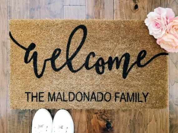 Last Name Personalized Welcome Mat - Coir Door Mat - Doormat - 18x30, 24x36- Housewarming Gift - Wedding gift.