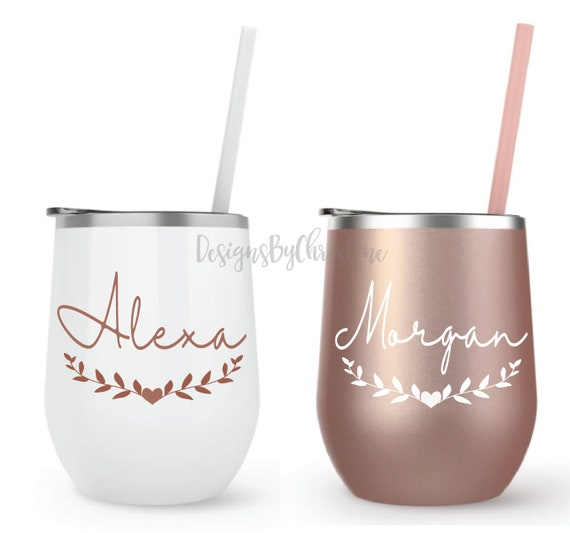 Stainless Steel Wine Tumbler, Personalized 12oz Cup with Lid and Straw, Bachelorette Bridal Wedding Gifts