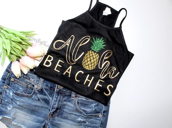 Bachelorette Party Shirts Beach, Aloha Beaches, Aloha Bride, Pineapple Shirt, Beach Bachelorette Tank Top, Bachelorette Party tank