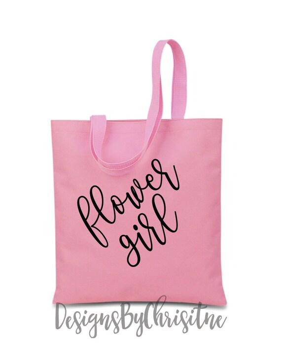 Canvas Tote Bag, flower girl Tote Bag, flower girl gift, Flower girl. Pink flower girl bag