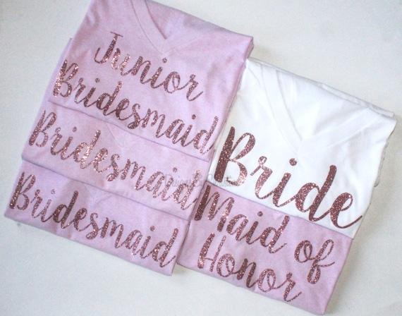 Bridal Party Shirt Set. Bridal Party shirts. Bridal Party Glitter Shirts. Bridesmaid Shirt. Bride Shirt. Maid of Honor. Bridal party