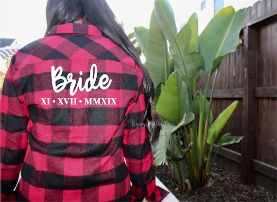 Buffalo Plaid Bridal Flannels.Red flannel shirts. Bachelorette party shirts. bridal party flannels. white plaid flannel shirts