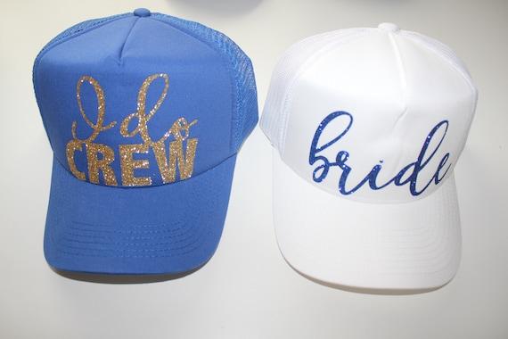 I do crew hat. Trucker Caps. Bride Trucker hat. Bachelorette hats. Bridesmaid glitter hats. Gold glitter hats. Bride hats. Royal bridesmaid