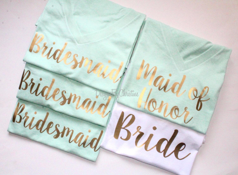 14d6473216d3 Bridal Party Shirt Set. Bridal Party shirts. Mint Bridesmaid shirts ...