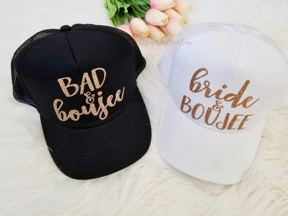 Bachelorette Hat, Bad and Boujee Hat, Bride and Boujee Hat, Bachelorette trucker hat, Bachelorette party hat, Wedding Hat, Vacation trucker.