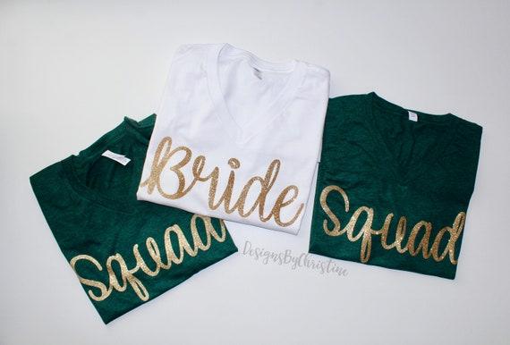 Bride Squad Shirt. Bridesmaid shirt. Bridal Party shirt. Bachelorette shirt. Squad shirt. Bride shirt. emerald green Bridesmaid shirts