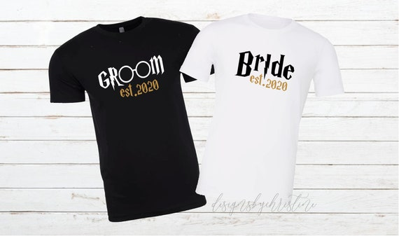 Universal Couples Shirts | Harry Potter Inspired couples shirt | Bride Groom Shirts | Honeymoon Potter Matching Shirts | Just Married
