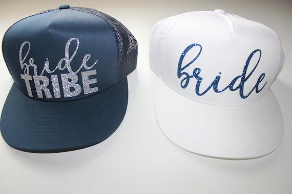 Bride Tribe Trucker Caps. Navy Bride hat. Bride Trucker hat. Bachelorette hats. Bridesmaid glitter hats. Gold glitter hats.